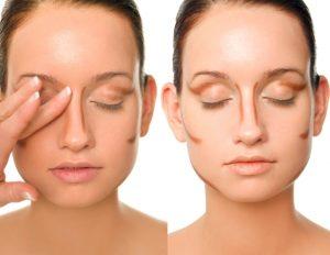 схема макияжа для носа