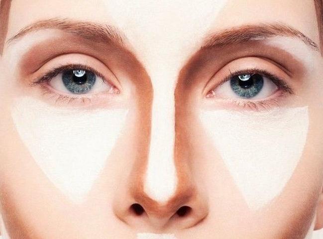 схема макияжа уменьшающего нос
