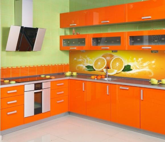 Яркий интерьер оранжевая кухня