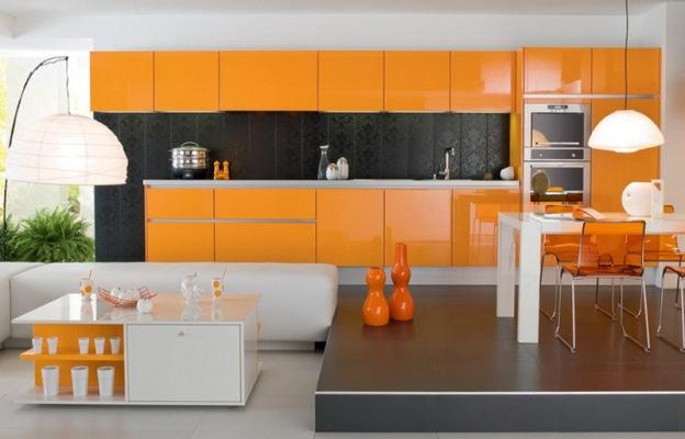 Классическое сочетание: оранжевый-серый-черный-белый в интерьере кухни