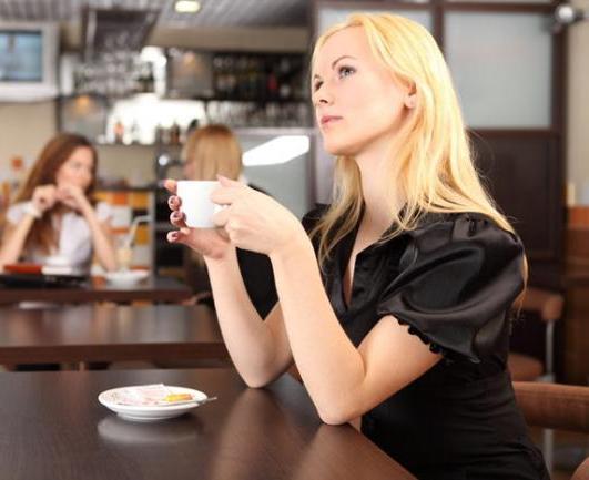 девушка в кафе с чашечкой