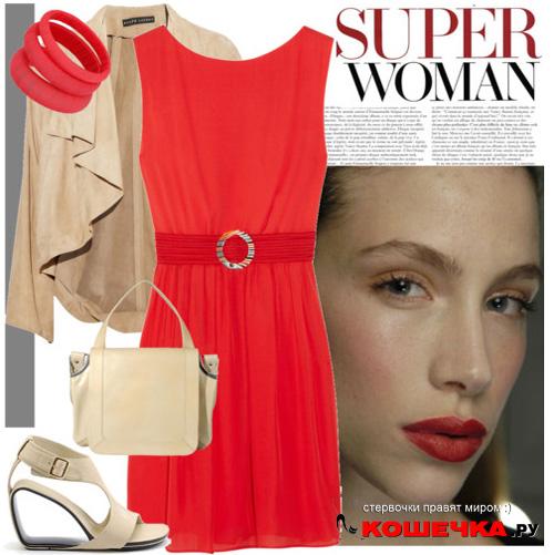 Носи красное платье с бежевым